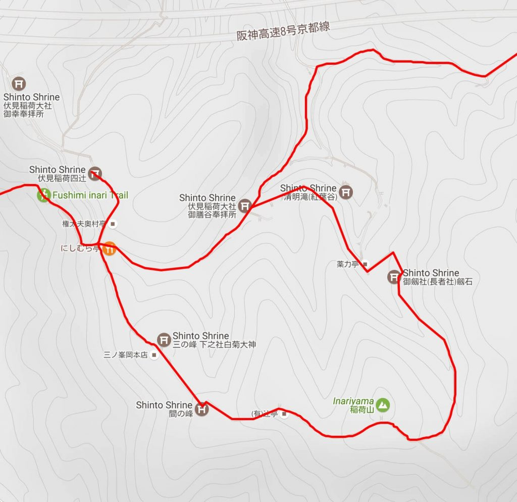 Fushimi Inari summit loop map