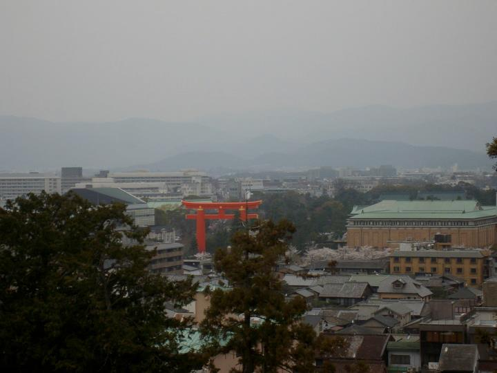 Heian Shrine viewed from the Shogunzuka trail