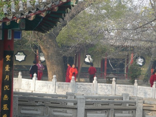 People doing tai chi at Jade Spring Temple