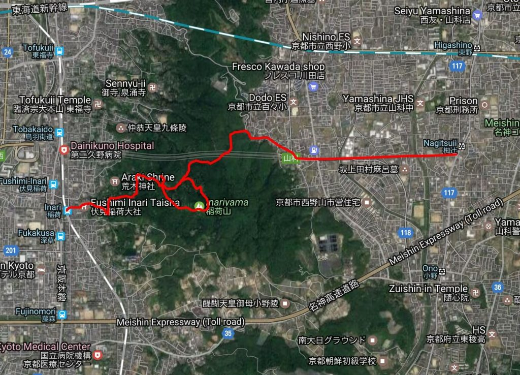 Fushimi Inari to Yamashina hike map