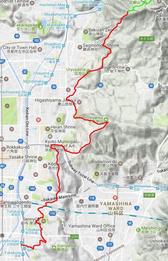Isshu Trail Higashiyama map