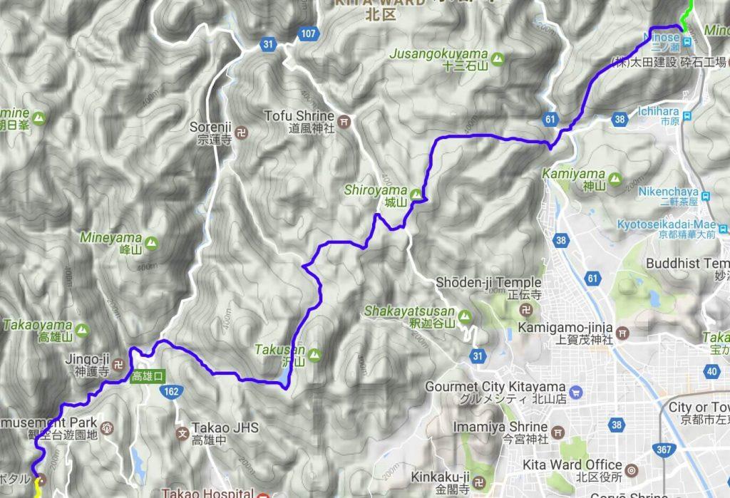Isshu Trail Kitayama Nishibu map