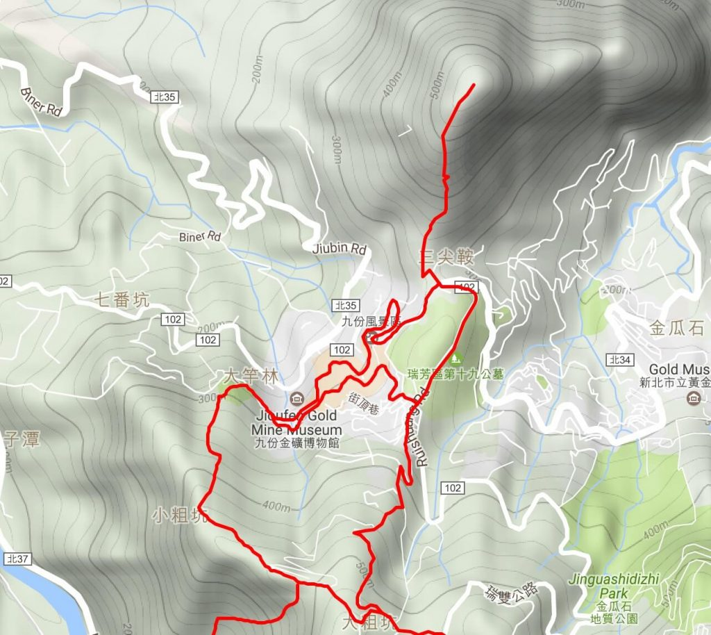 Jiufen & Mt Keelung map