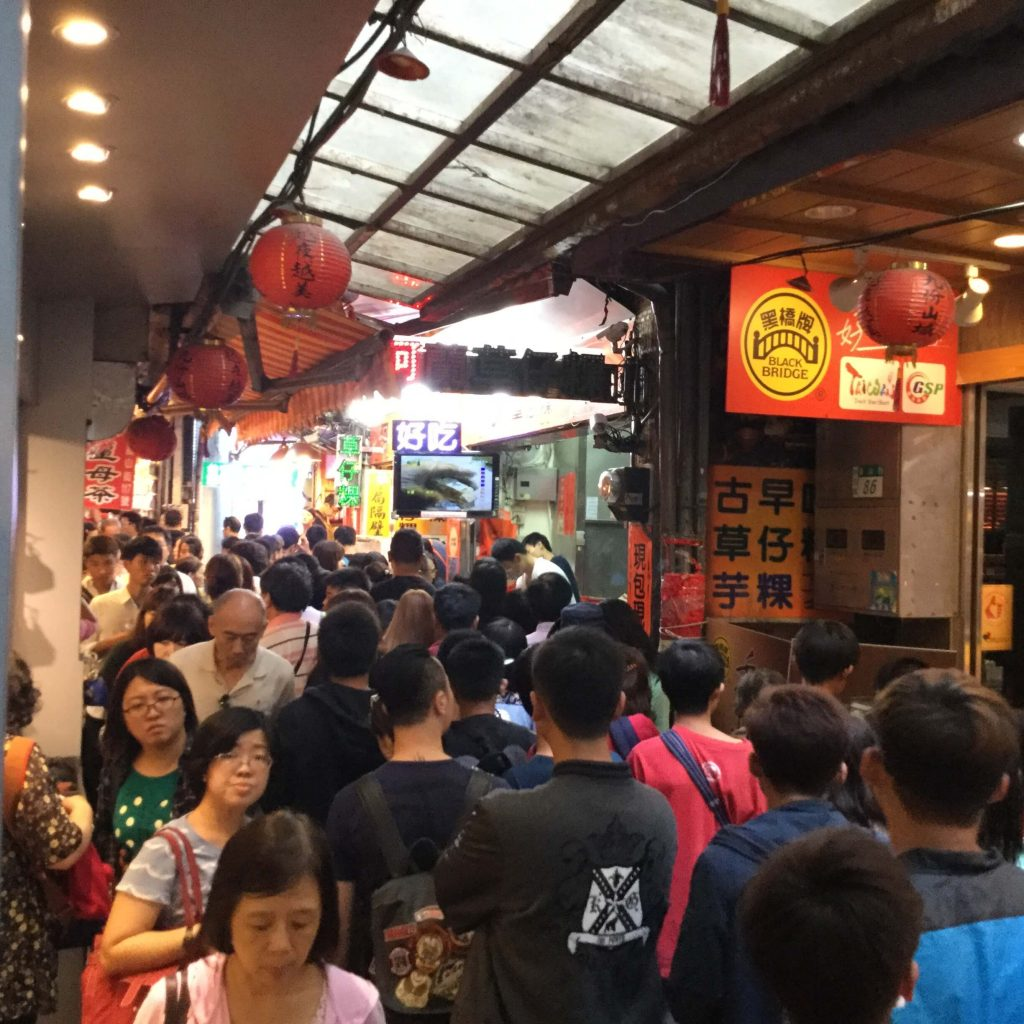 Heavy crowds along Jiufen Old Street
