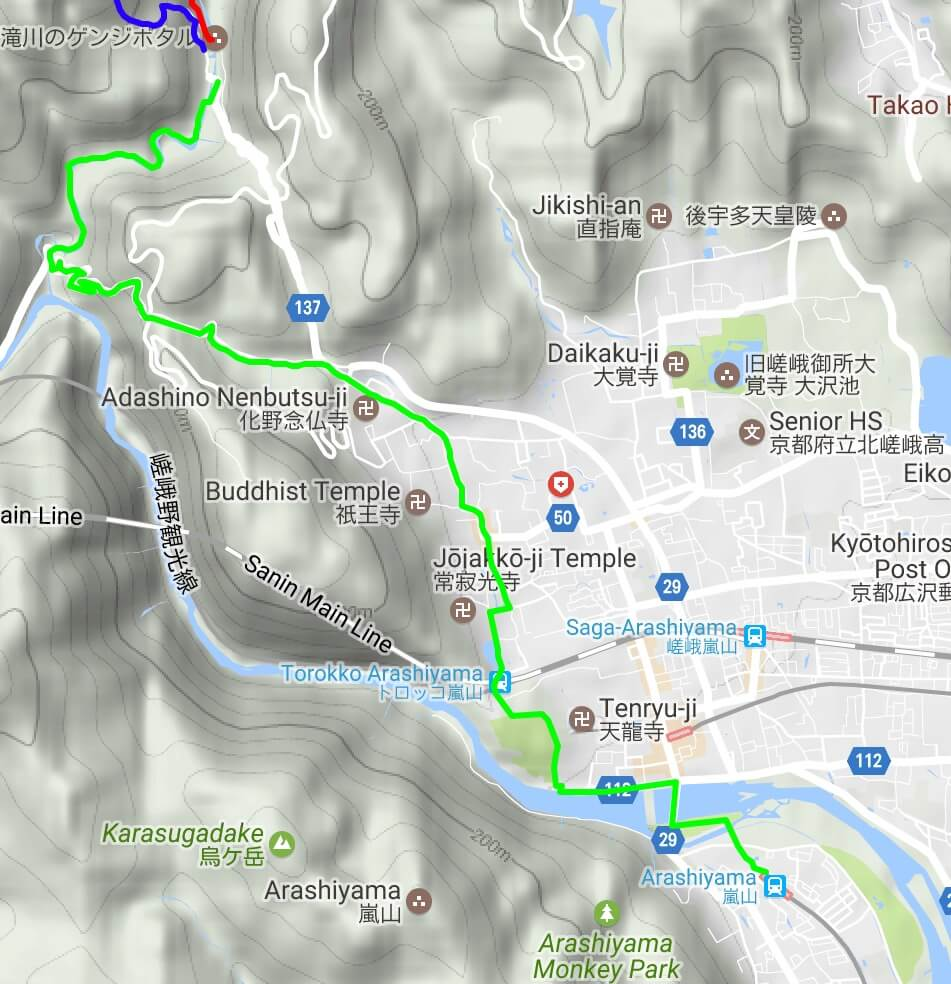 Kiyotaki - Arashiyama hiking map