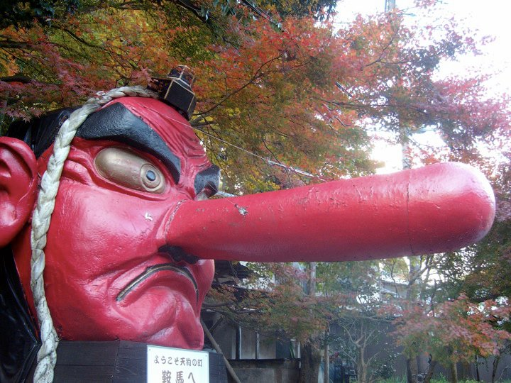 Large tengu head at Kurama station