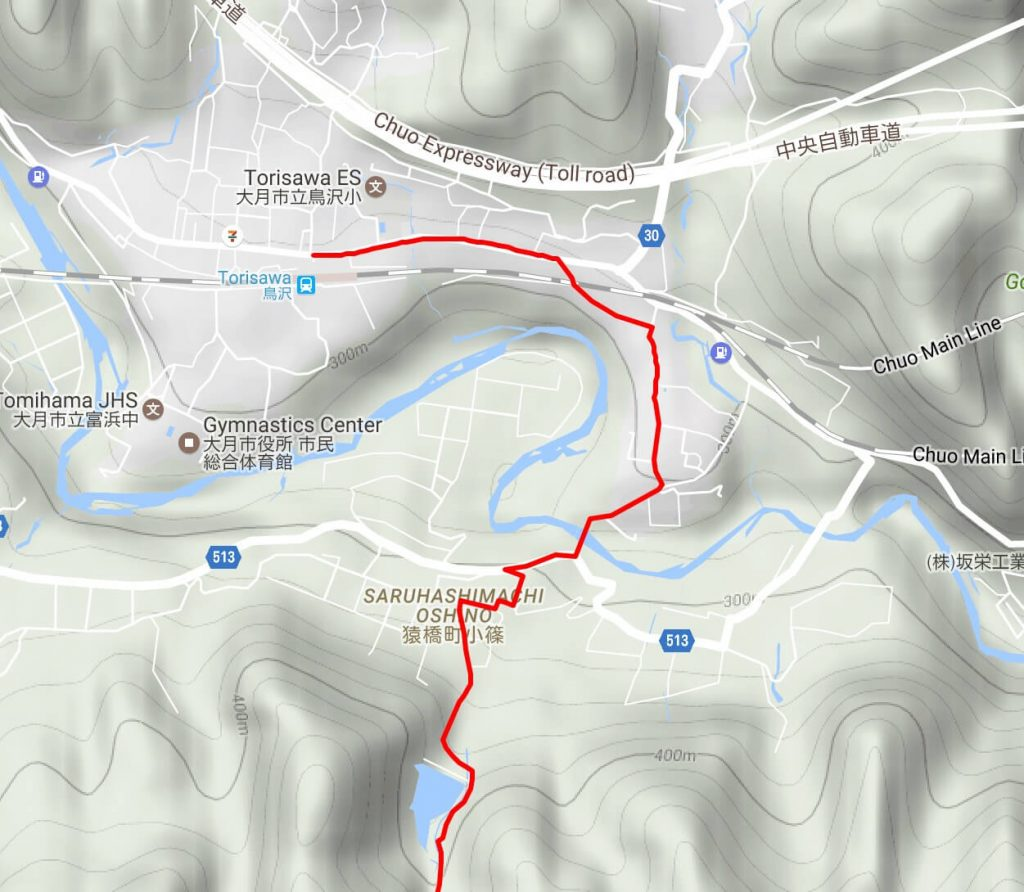 Map of route from Torisawa station to Kuratakeyama