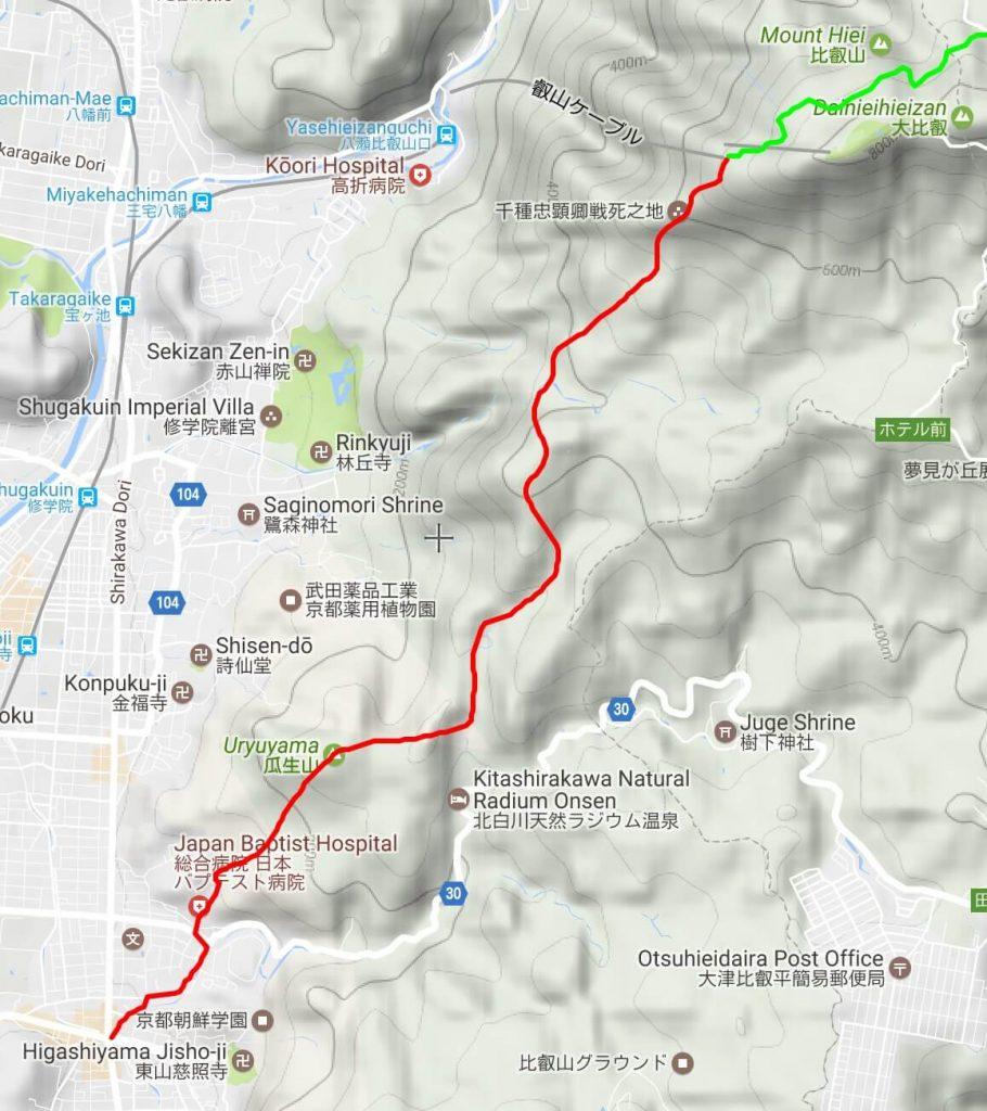 Mt Hiei ascent map