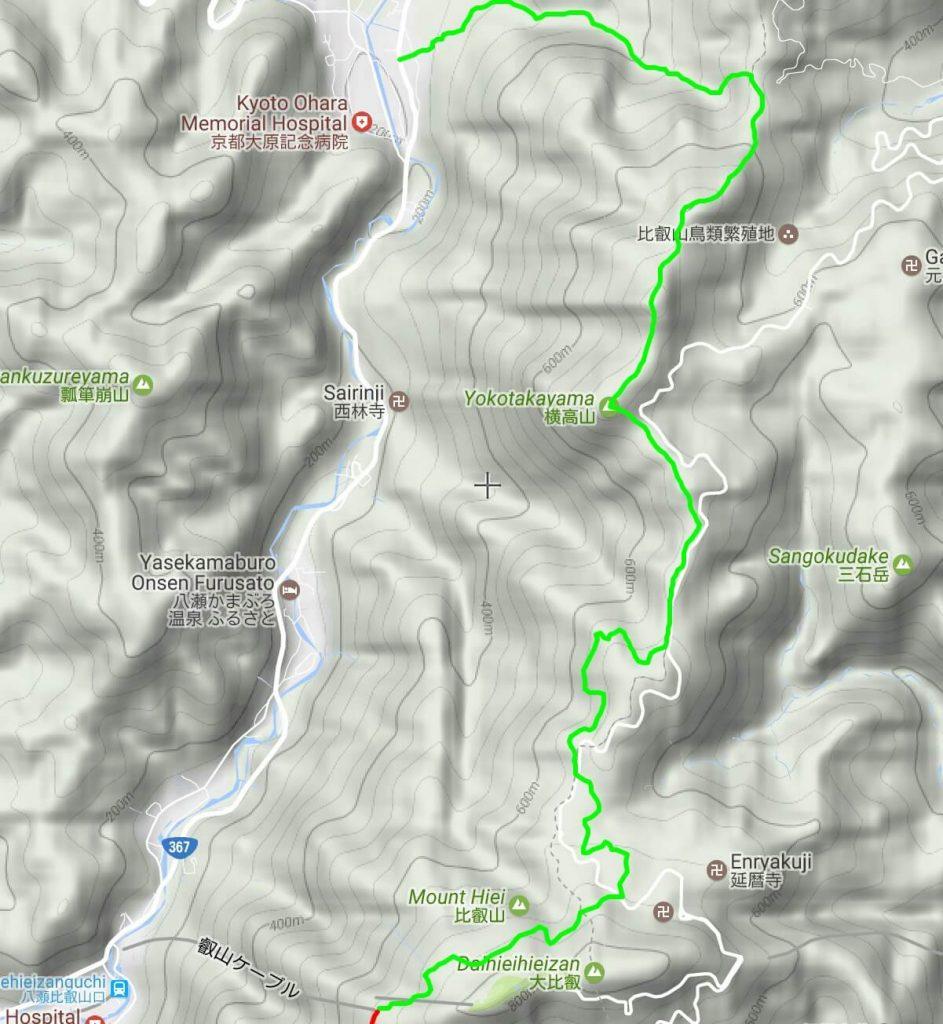 Mt Hiei to Ohara hiking map