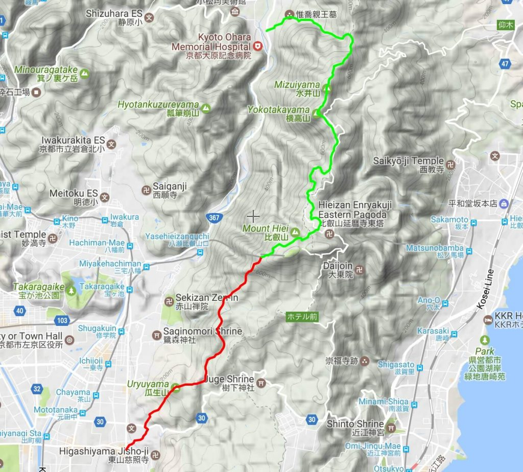 Mt Hiei hiking map