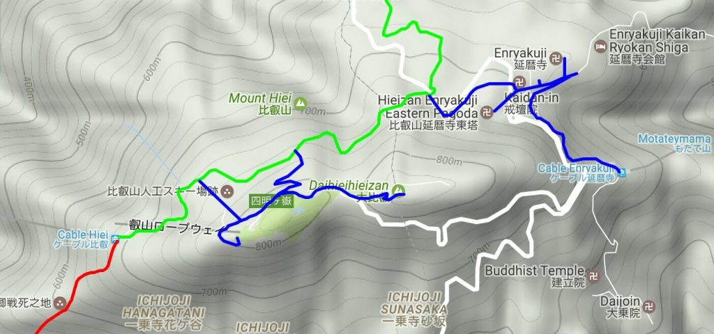 Mt Hiei summit area map