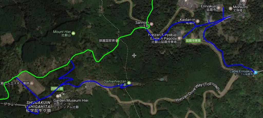 Mt Hiei summit area map (satellite view)