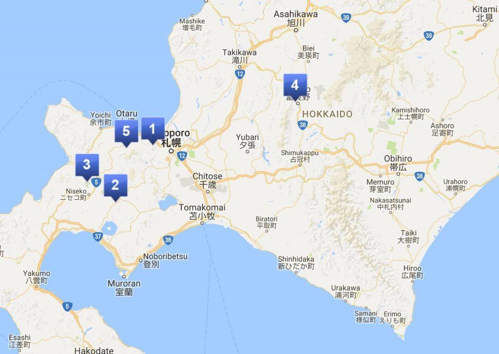 Sapporo ski map