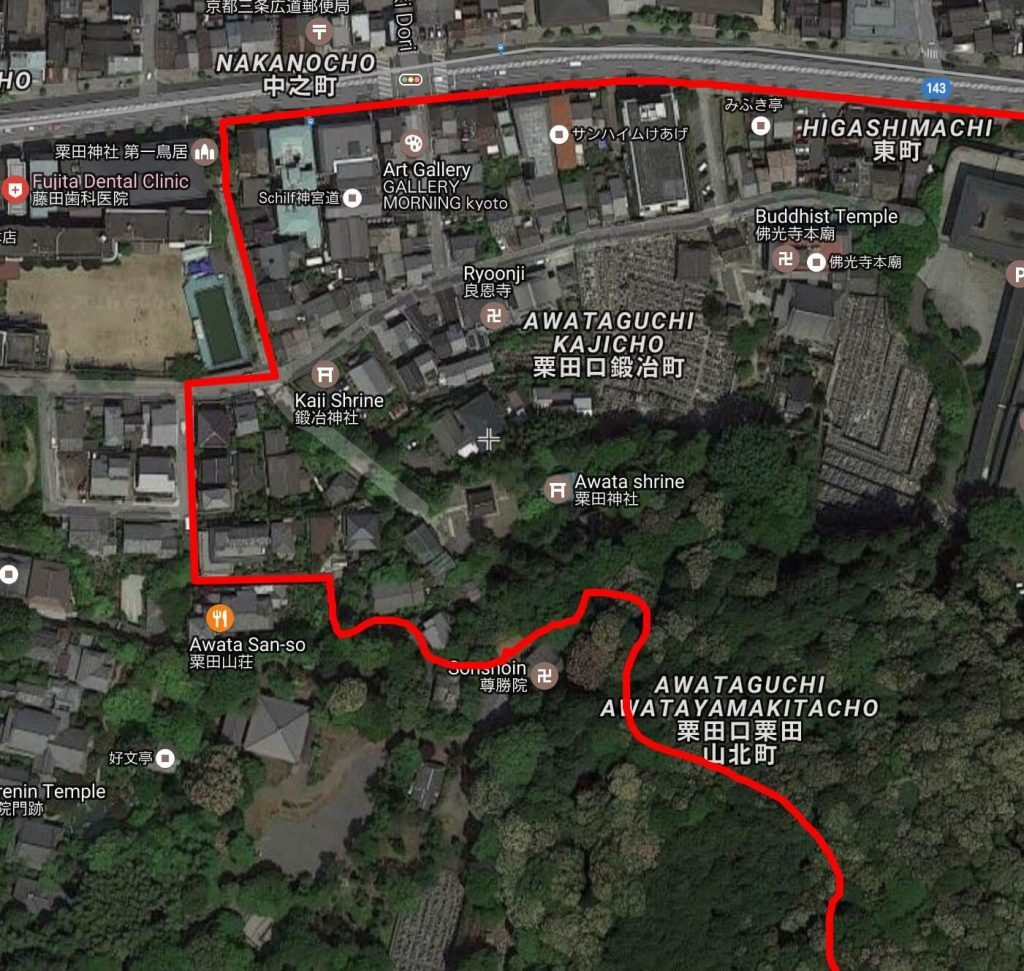 Shogunzuka hiking route, satellite view