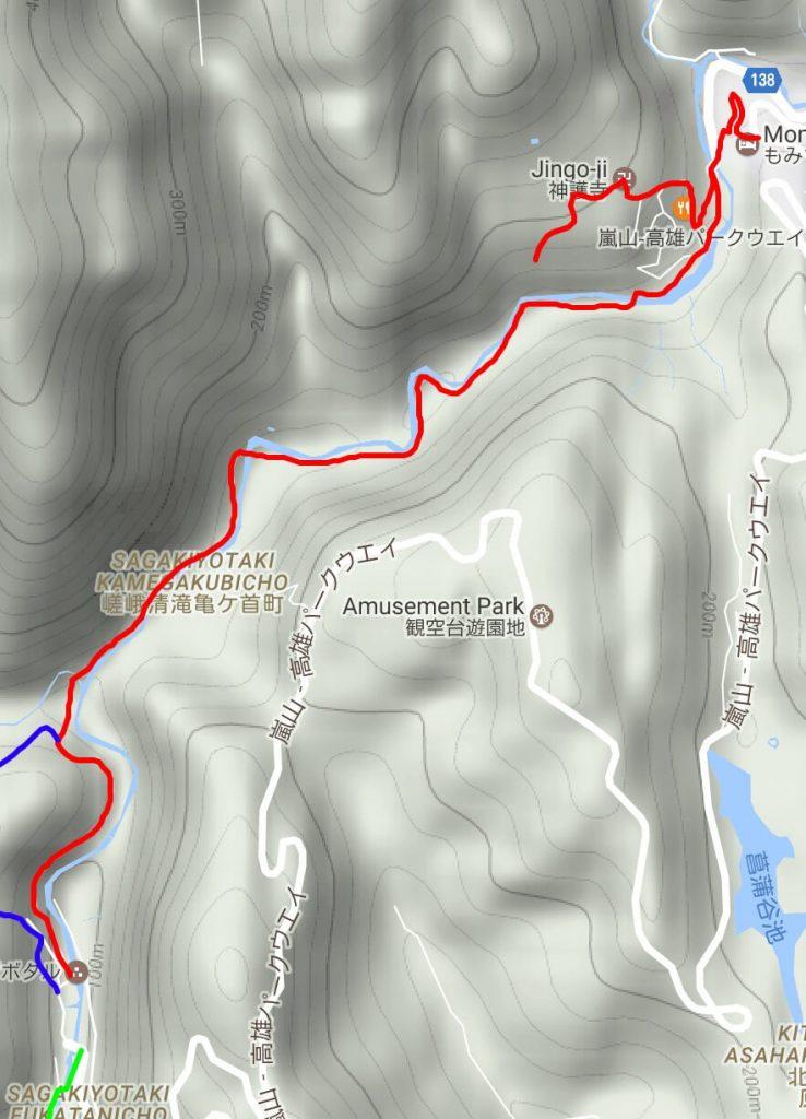 Takao to Kiyotaki hike map