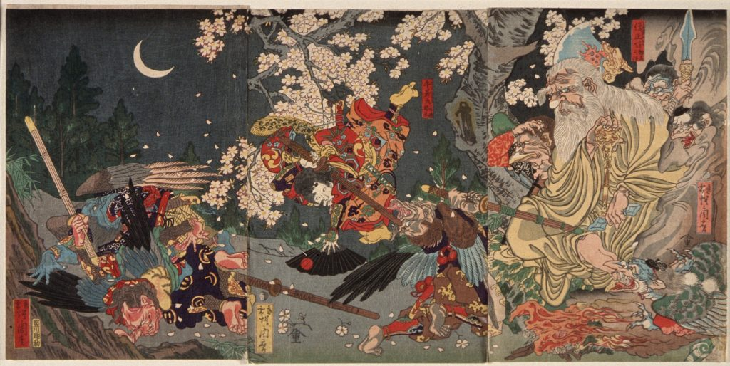 Painting of Yoshitsune training with the tengu in Kurama