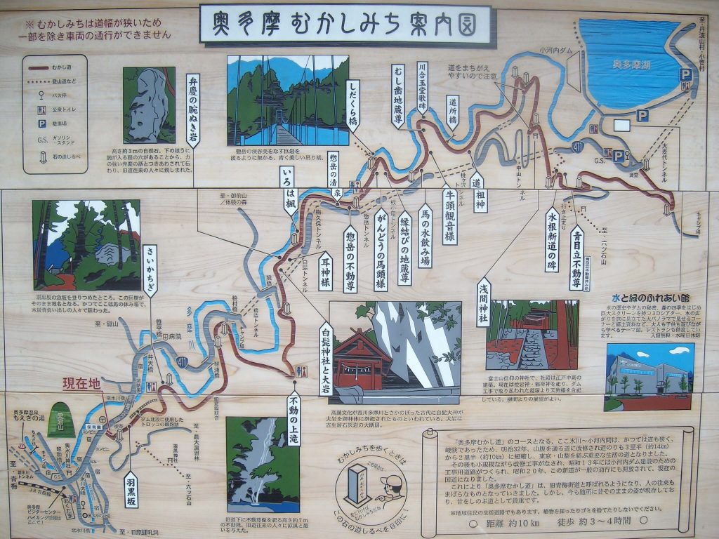 Hiking map on an information board at the start of the trail