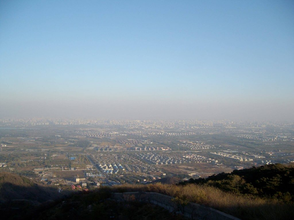 Smoggy view of Beijing from Xiangshan