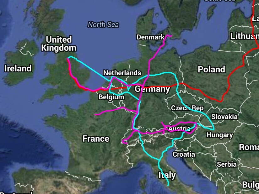 Map of my Interrail routes