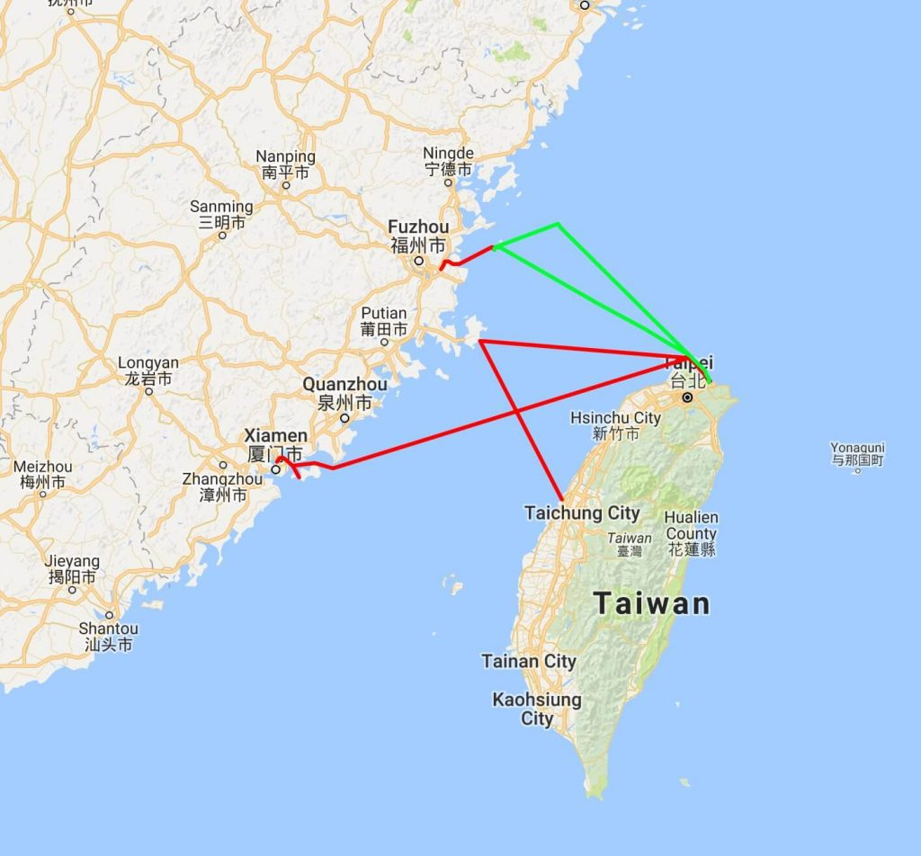 Taiwan ferry map