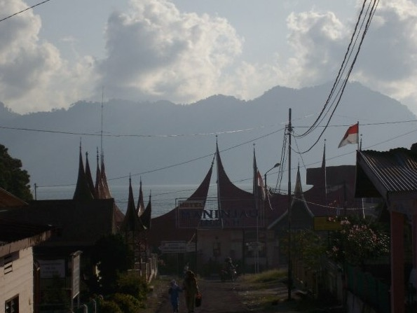 Minangkabau houses on the shore of Lake Maninjau