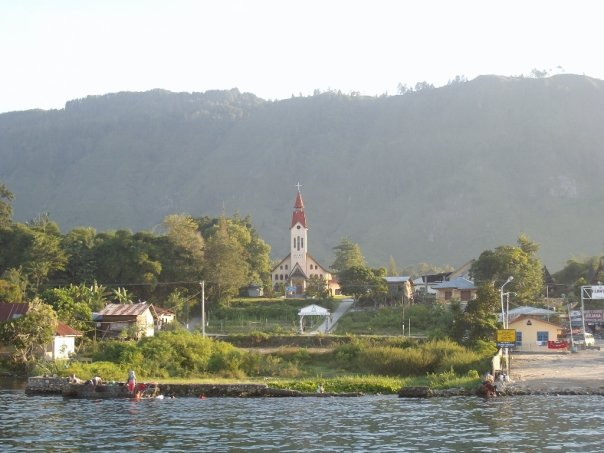 A church on the shores of Lake Toba with Batak design features