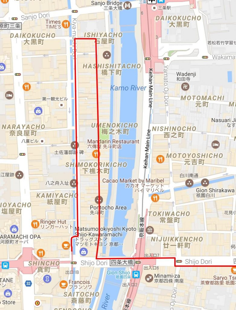 Map of Kiyamachi-dori and Pontocho