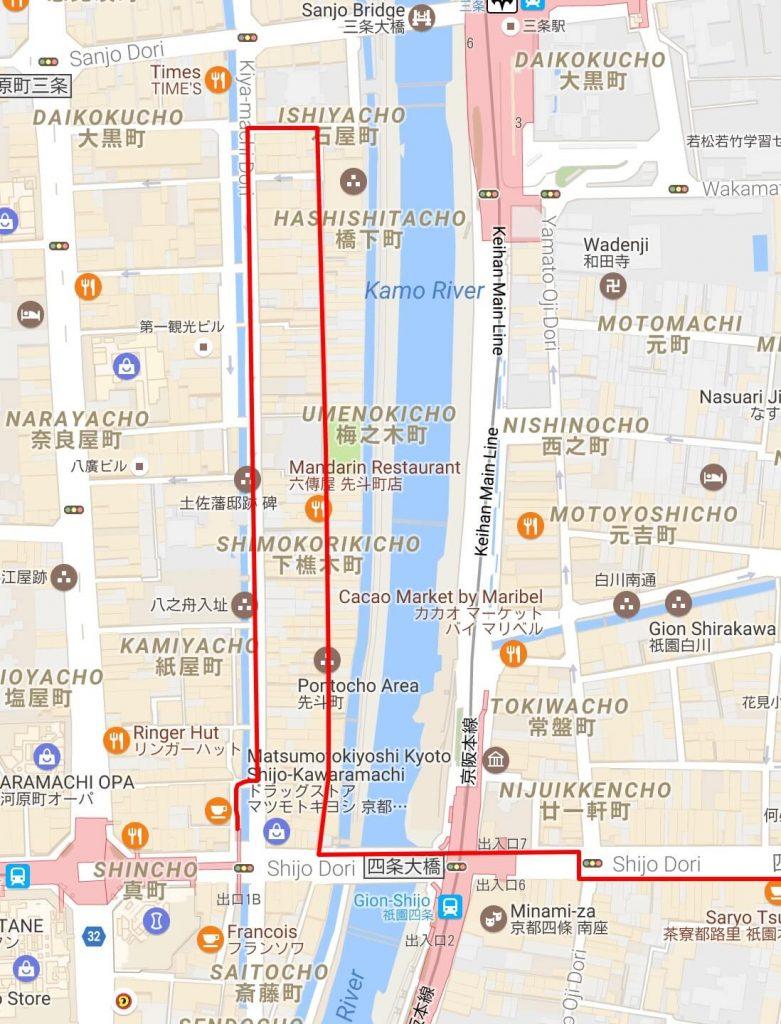 Map of Kiyamachi-dori and Pontocho