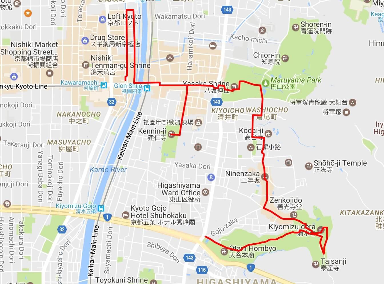 Gion walking tour map