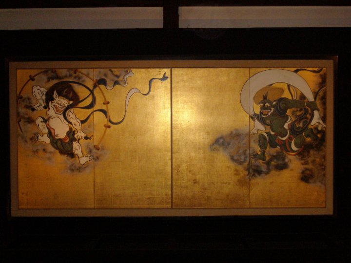 A screen painting at Kenninji temple of Fujin and Raijin, the wind and thunder gods