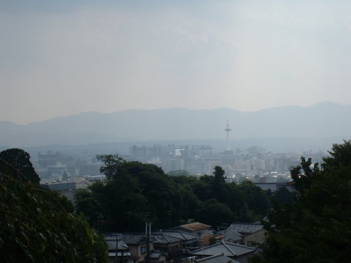 View of Kyoto Tower from the cemetery near Kiyomizu temple