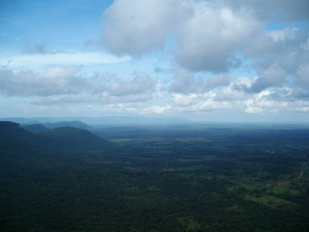 View over northern Cambodia from the Dangrek cliffs