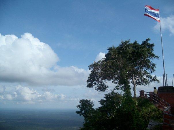 Thai flag flying atop the Dangrek cliff near Preah Vihear temple