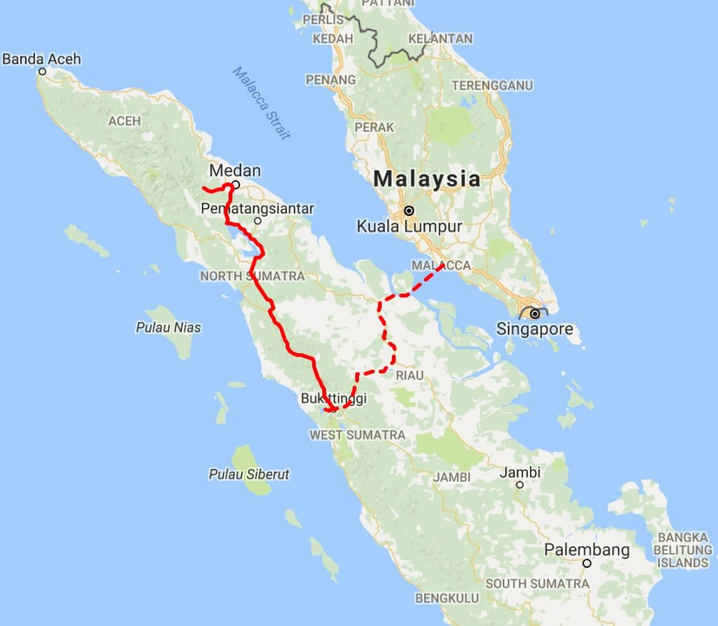 Sumatra recommended route map