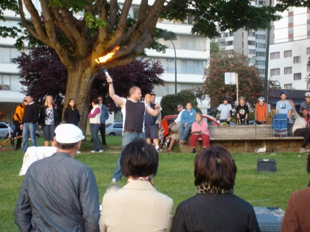 Street performer, English Bay, Vancouver