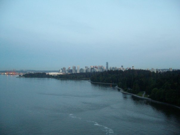 Looking back at Stanley Park and downtown Vancouver from the Lions Gate Bridge