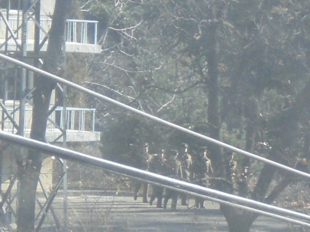 North Korean soldiers seen through the trees