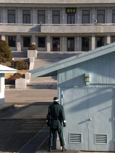 North and South Korean soldiers facing off in the JSA, Panmunjeom DMZ