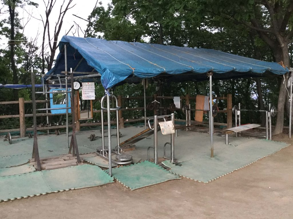 Exercise facilities near the summit of Yongmasan