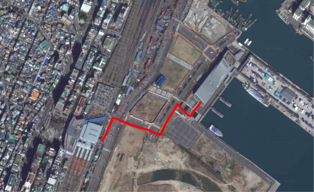 Walking route from Busan Station to Busan Port