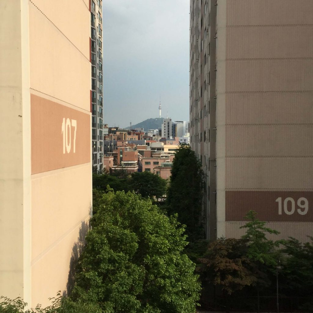 View of Namsan from the Hyundai apartments near Inwangsan