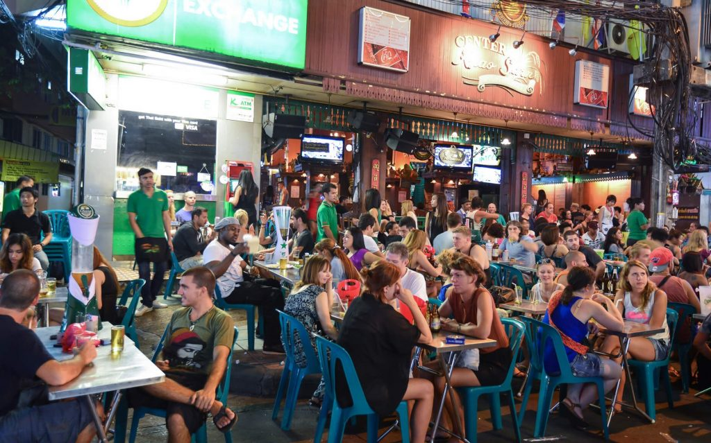 A busy bar on Khao San Road
