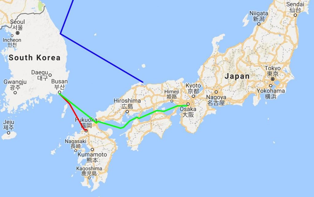 Korea - Japan ferry map