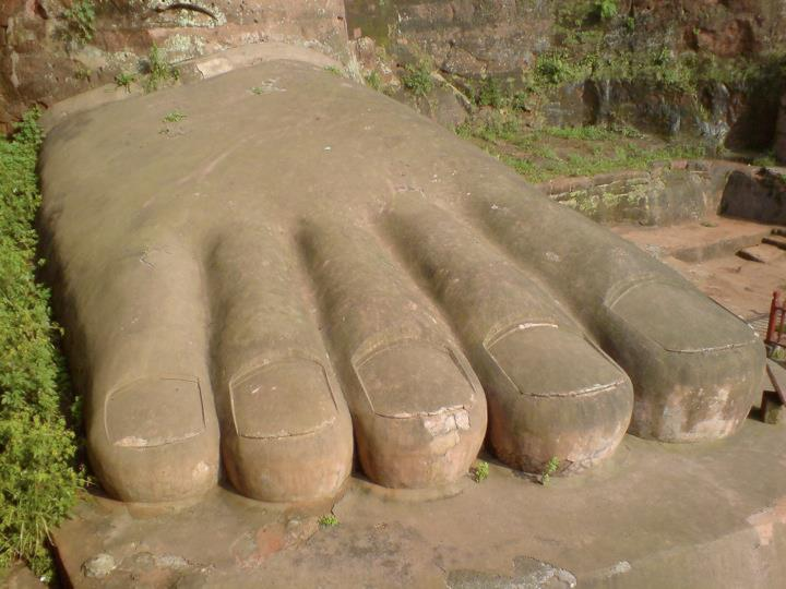 Close up of one of the Leshan Buddha's enormous feet