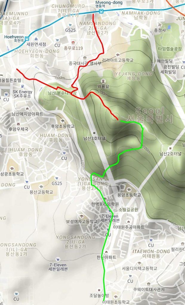 Namsan hiking map