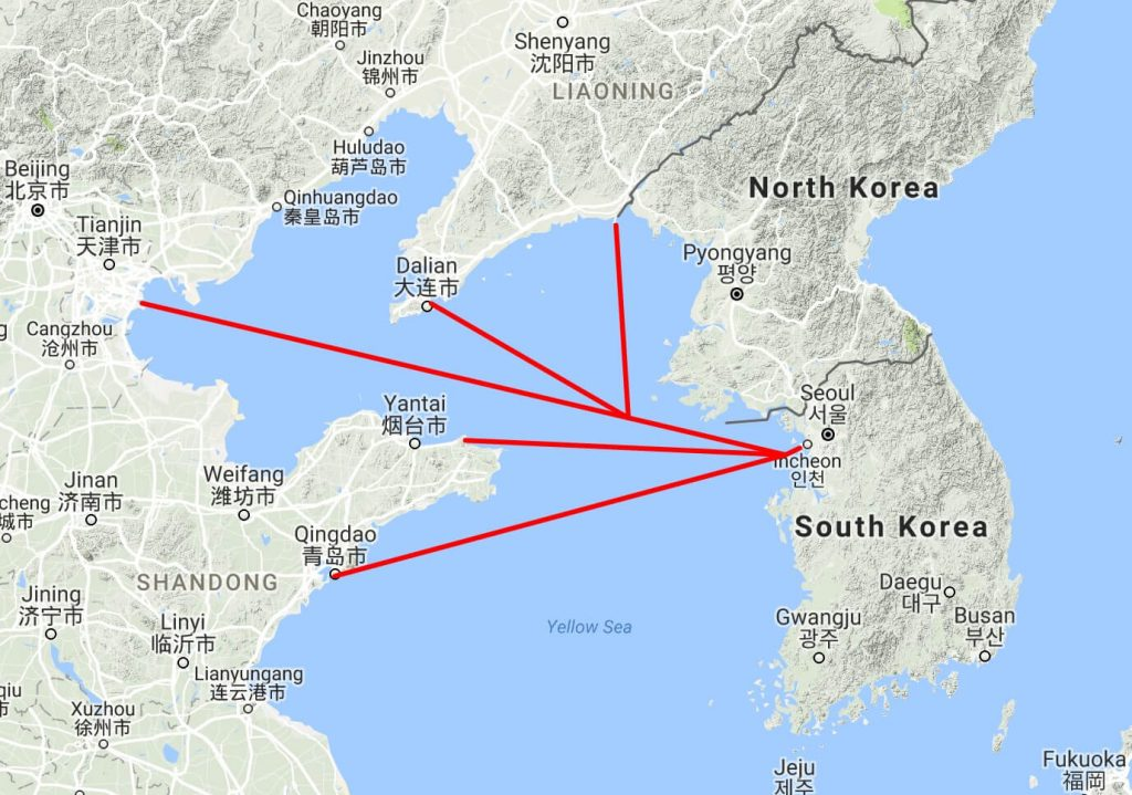 China - Korea ferries, Incheon map 1