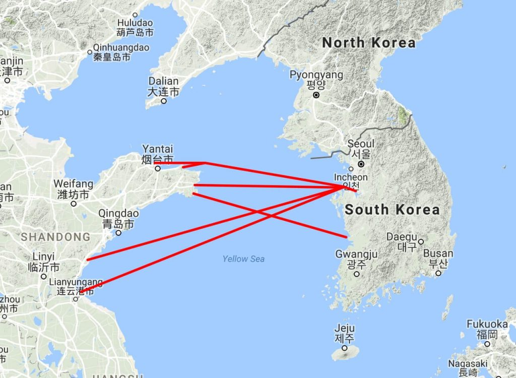 China - Korea ferries, Pyeongtaek map