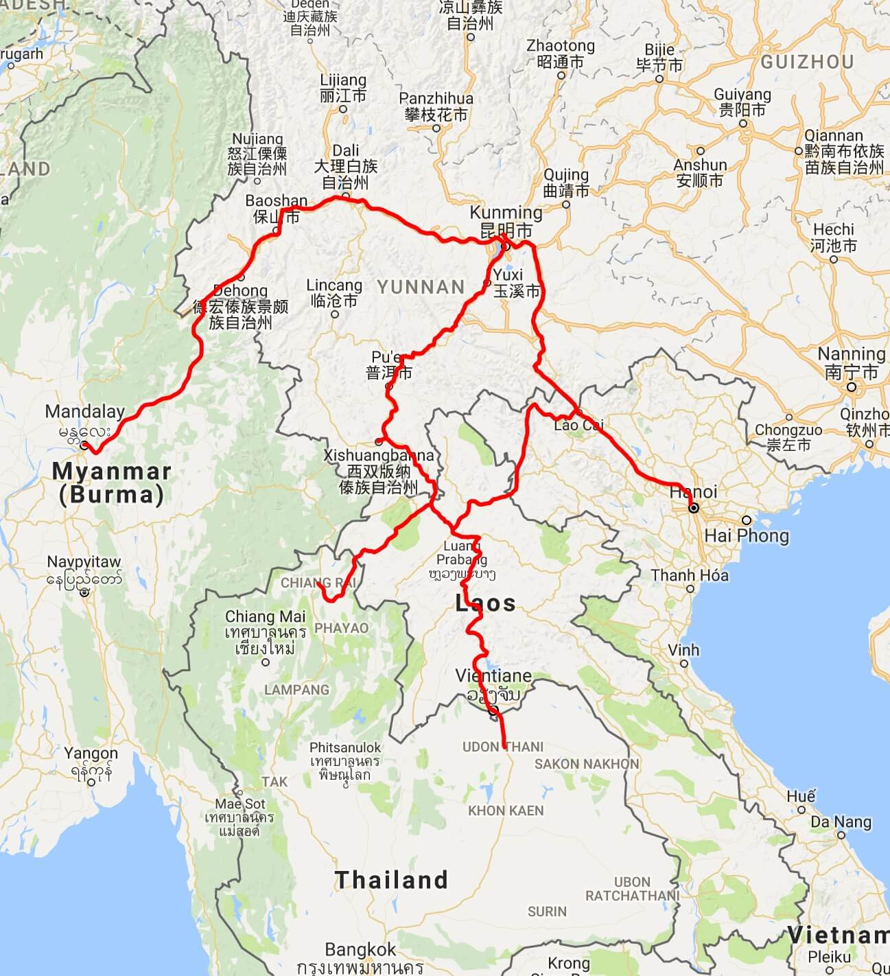 China to Thailand, Laos, Vietnam, and Myanmar route map