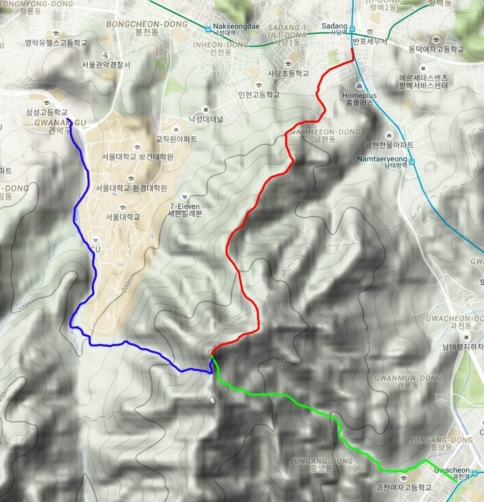 Map of the main Gwanaksan hiking routes