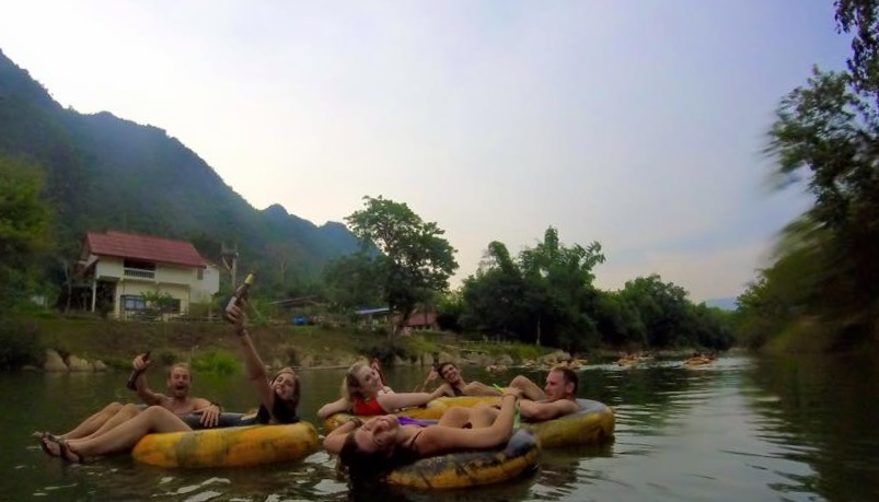 Tubing on the river in Vang Vieng
